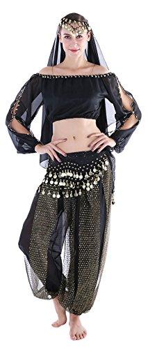 Kostüm Damen Sexy Arabische Faschings Kostüm Bauchtanz Langärmeliges Oberteil Hüfttuch Schleier Schwarz