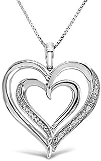 """925 Sterling Silver and Diamond Accent Double Heart Pendant Necklace (Cttw, I-J Color, I2-I3 Clarity), 18"""""""
