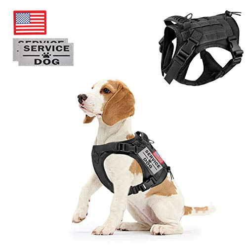 Tactical Service Dog Vest Harness Outdoor Training Handle Water-Resistant Comfortable Military Patrol K9 Dog Harness with Handle (S, 3Black)