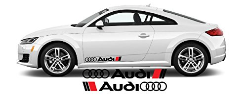 Artstickers4U Seitendekor Aufkleber passt zu Audi Auto Car Windschutzscheiben Heckscheiben Sticker / Plus Schlüsselringanhänger aus Kokosnuss-Schale / Tuning Hoonigan A1 A3 A5 A6 TT Q3 Q5 Quattro