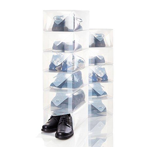 Lumaland 15er Set Herren Schuhbox Aufbewahrungsbox Organizer aus Kunststoff transparent stapelbar ca. 35 x 22 x 14 cm