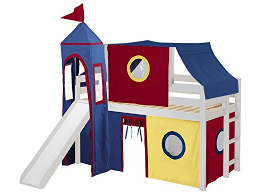 JACKPOT! Castle Low Loft Bed with Slide Red & Blue Tent and Tower, Loft Bed, Twin, White