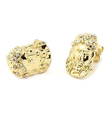 Mens Gold Plated Jesus Face Cz Hip Hop Stud Earrings E3