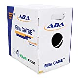 Cat6 Plenum CMP (Cat6e), Ethernet Cable 1000ft, 23AWG UTP, 600MHz, Solid Bare Copper, UL Certified, w/Spline(Noise Reducing Cross Separator), Easy to Pull (Reelex II Box), Bulk Network Cable - White
