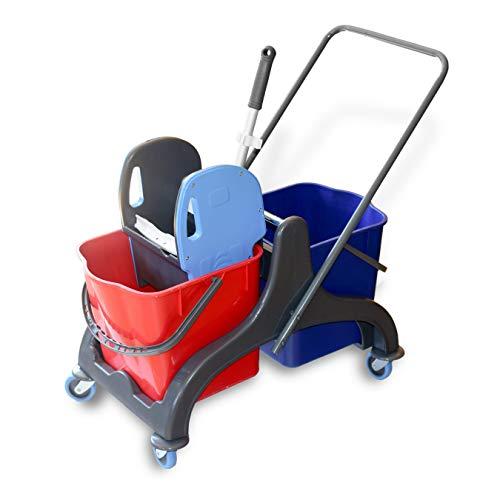 Hypafol Putzwagen Reinigungswagen | 2x25l Eimer mit Trennwand | Kunststoff Wischeimer mit Presse | für Gebäudereinigung, Hotelservice, Gastronomie, Großküche, Büroreinigung oder Arztpraxis