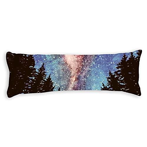 Funda de almohada de algodón de 180 x 50 cm con cremallera, funda de almohada de cuerpo forestal, funda de almohada decorativa floral para cama para niños para niños y niñas