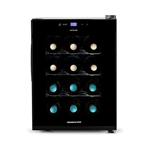 CREATE IKOHS WINECOOLER M - Vinoteca de 12 botellas, 33 l, 70 W Luz LED, Display Digital, 3 Estantes, Doble Aislamiento, Zonas de temperatura de 11-18 grados, Baldas Acero Inoxidable