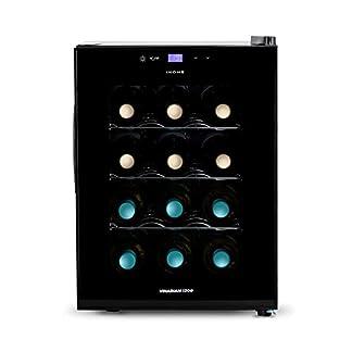 IKOHS-VINARIAM-1200-Weinkuehlschrank-12-Flaschen-33-l-70-W-LED-Licht-digitales-Display-3-Einlegeboeden-doppelte-Isolierung-Temperaturzonen-von-8-18-Grad-Edelstahl