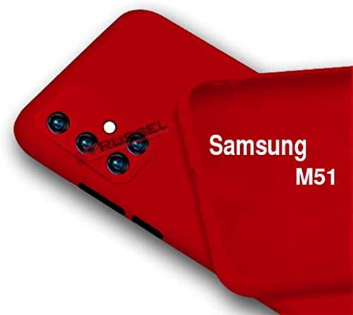 BRUSSEL Samsung M51 Back Cover Case Soft Matt Silicon Cover Shockproof And Camera Protection Case Cover For Samsung Galaxy M51 Red