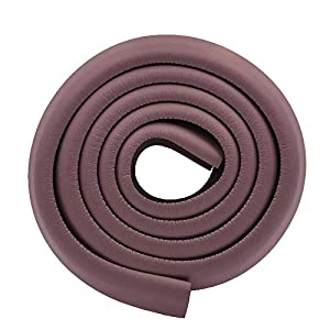M2cbridge L Shape Extra Thick Furniture Table Edge Protectors Foam Baby Safety Bumper Guard 6.5 Ft (Brown)
