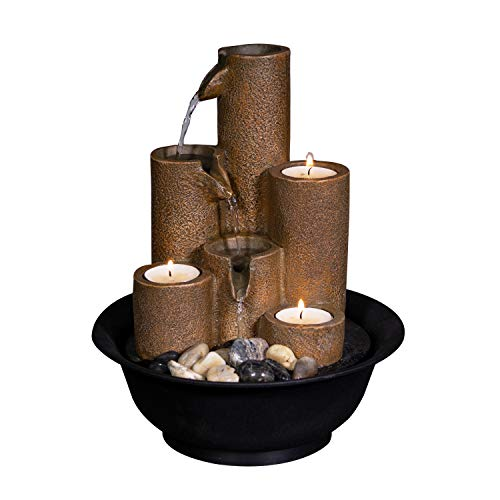 Alpine Corporation WCT202 Tiered Column Tabletop Fountain w/ 3 Candles, 11 Inch Tall, Brown