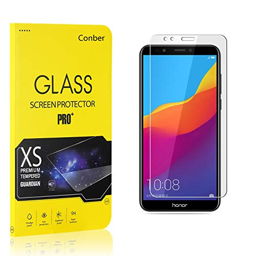 Conber (1 Pack) Screen Protector for Huawei Honor 7C / Huawei Y7 2018, [Scratch-Resistant][Anti-Shatter][Case Friendly] Premium Tempered Glass Screen Protector for Huawei Honor 7C / Huawei Y7 2018