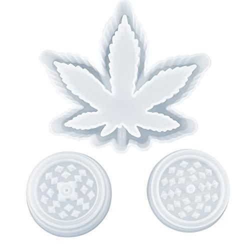 Keyzone Maple Leaf Ashtray Resin Mold, Blattablage Aschenbecher Schmuck Aufbewahrungsbox Epoxidharzform und 1 Paar Kräutermühle Spice Crusher Resin Mould für DIY Resin Casting Wax Soap