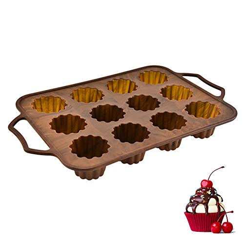 Baking Silicone Molds, 12 Cup Silicone Muffin Cupcake Baking Pan, Non-Stick Silicone Mold with Steel Frame, for Cupcakes Brownies, Oven Microwave Dishwasher Freezer Safe,B
