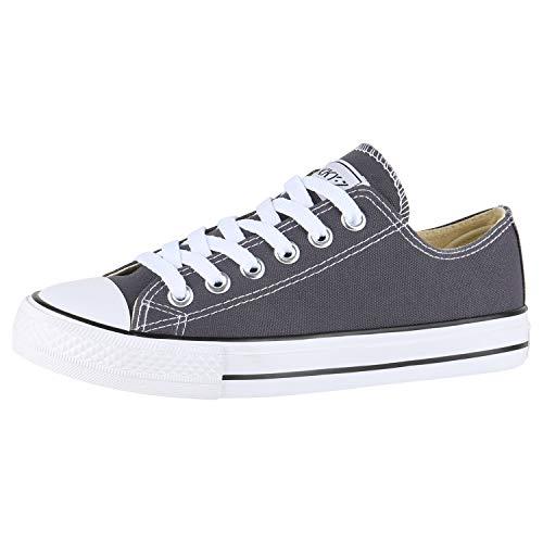 SCARPE VITA Damen Sneakers Freizeit Schuhe Stoffschuhe Sportschuhe 172910 Dunkelgrau Dunkelgrau Total 37