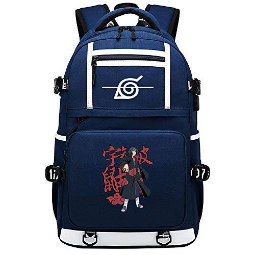ZZGOO-LL White Sharingan Pattern Uzumaki Naruto Uchiha Itachi/Pain Anime Laptop Backpack Bag Travel Laptop Daypacks Bolso Ligero con USB Blue-A