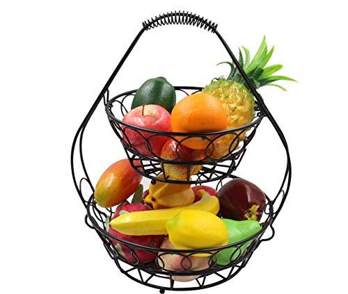 MissZZ Fruit Rack Bowl Assembled Fruit Storage Basket Large Capacity Banana Holder Metal Detachable Shelf Unit for Kitchen Home Black 2 Tier
