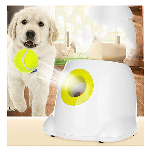 CUTEY Automatic Ball Launcher Dog Fetch Toy Interactive Toy Pet Ball Thrower Throwing Game 3 Tennis Balls Included Launch Distance 10ft 20ft 30ft