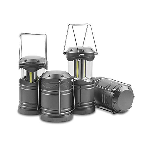 Lichamp 4 Pack LED Camping Lanterns, Battery Powered Camping Lights COB Super Bright Collapsible Flashlight Portable Emergency Supplies Kit, Dark Grey
