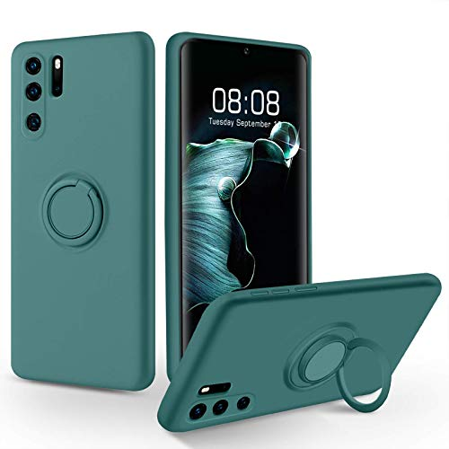 SouliGo Huawei P30 Pro Case Silicone Soft Gel Rubber 360° Ring Holder Kickstand for Magnetic Car Mount, Slim Anti-Scratch Protective Shockproof Phone Cover for Huawei P30 Pro 6.47' - Midnight Green