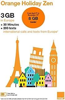 Orange Holiday ヨーロッパ - プリペイドSIMカード ー 4G通信 3GB 30分 SMS 200通 (3 GB)