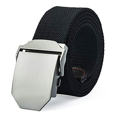 VANKER nouveau Pretina de les sangles de toile ceinture boucle automatique de ceinture pour hommes femmes – -Noir