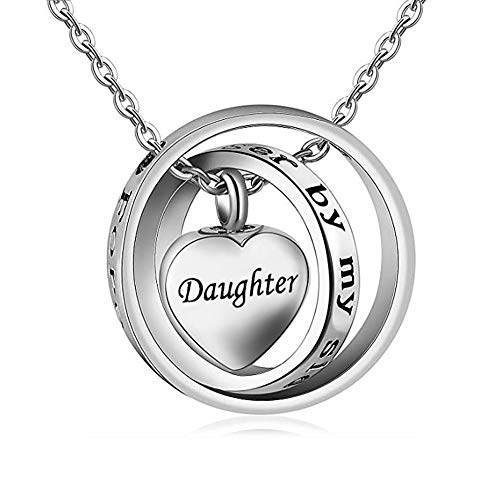 UNIQUEEN Cremation Jewellery Locket Urn Pendant Necklace - Memorial Ashes Keepsake, No Longer by My Side, Forever in My Heart (Daughter)