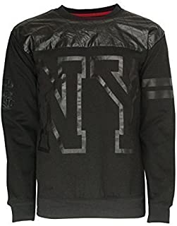 Soulstar Mens Sweatshirt NY American Football Jumper Quilted PU Leather Top