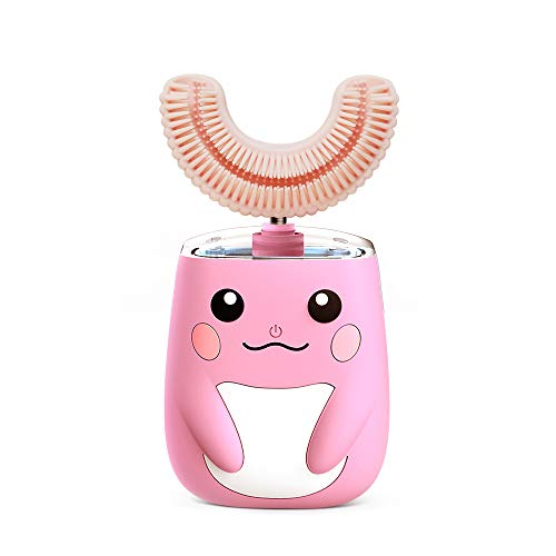 Kids Electric Toothbrush Ultra Sonic Toothbrush with U-Shaped Brush Head, Smart Timer IPX7 Waterproof, Cartoon Modeling, Toothbrush Kids Toddlers with Timer (Pink)