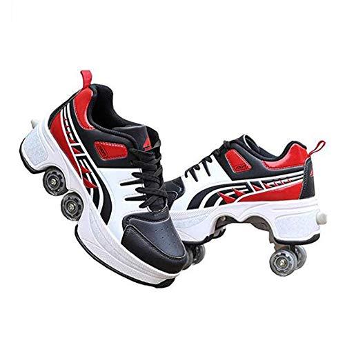 WYEING. Pulley Ice Skates,Multifunktionale Verformung Rolle Schuhe Unsichtbare 4-Rad-Rollschuhe Skate Roller Skating Kinder Outdoor-Sport Für Erwachsene Unisex,Rot,40