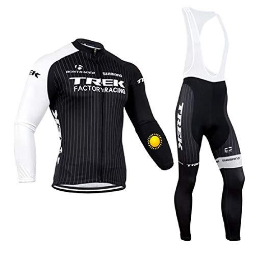 TOPBIKEB Conjunto de Ropa de Ciclismo de Manga Larga para Hombre para Invierno, Jersey de Ciclismo de vellón térmico con pantalón Largo para MTB