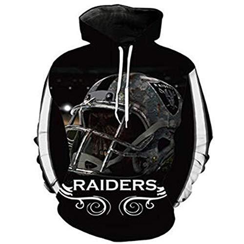 HOODIE Männer Kapuzenpullover Sweater - NFL Oakland Raiders Rugby-Fan-Jacke Training Frühling Baseball-Trikot Mit Reißverschluss Oberbekleidung Sportbekleidung - Teens Geschenk Black-XXXXXL