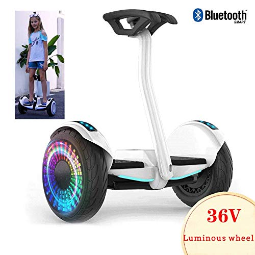 QX Scooter Self-Balancing Electric Scooters Two Wheel Smart Self Balance Scooter with Bluetooth Speaker, Led Lights, Flashing Wheels, Best Gifts for Kids,White