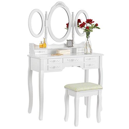 ArtLife Schminktisch ELSA mit Spiegel, Hocker und 7 Schubladen – weiß – Kosmetiktisch aus MDF Holz – Frisiertisch für Damen, Kinder & Mädchen