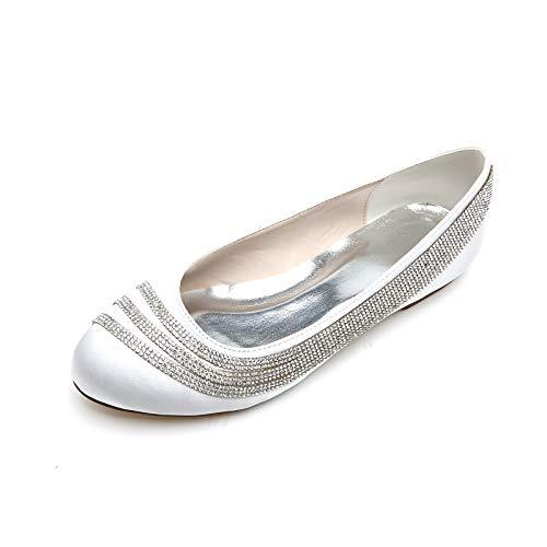 Bailarinas De Novia para Mujer, Punta Cerradasatén Zapatos De Boda Planos con...