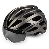 MOKFIRE Bike Helmet with USB Light Detachable Magnetic Goggles Road & Mountain Bicycle