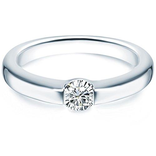 Tresor 1934 Damen-Ring/Verlobungsring/Spannring Sterling Silber rhodiniert Zirkonia weiß 60451023