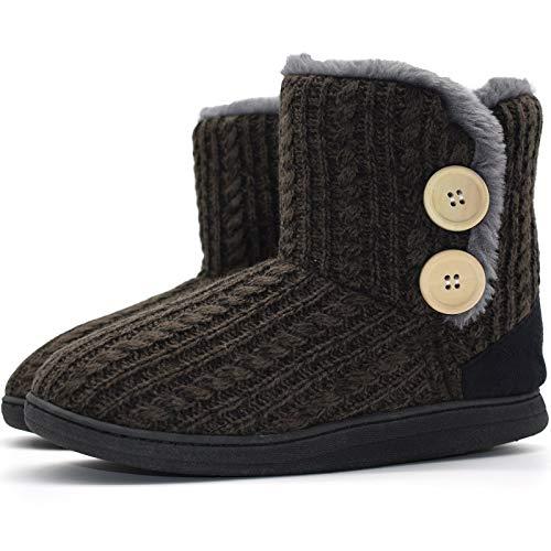 KuaiLu Damen Slipper-Stiefel Gestrickte pelzige Drinnen/Draußen Hausschuhe gemütliche Slouch Pantoffeln,Dunkelbraun,40/41 EU (XL)
