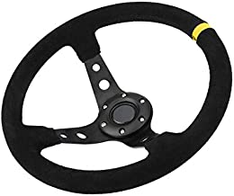 Lebeauty Steering Wheel, 350mm Deep Dish 6 Bolt For JDM Sport Racing Steering Wheel Suede Horn Button US Included, Cable, Wrench 14in (Black Yellow)