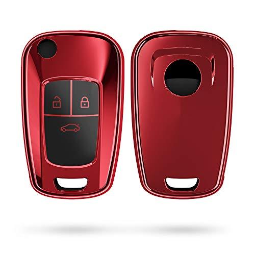 kwmobile Autoschlüssel Hülle kompatibel mit Opel 3-Tasten Klapp Autoschlüssel - TPU Schutzhülle Schlüsselhülle Cover in Hochglanz Rot