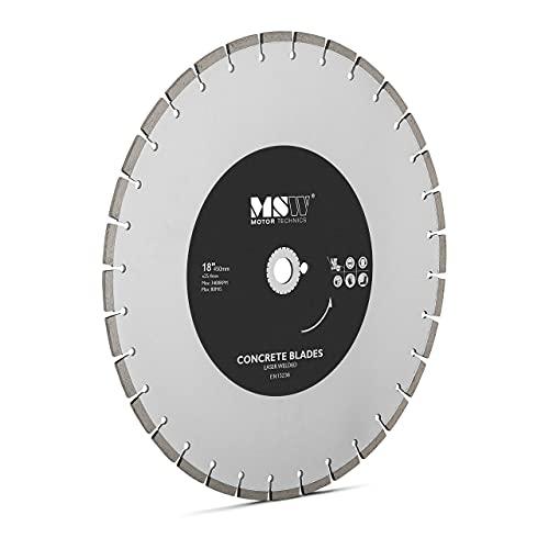 MSW Disco Diamantado para Sierra Circular Recambio MSW-FSCB-450/25 (Diámetro del orificio central: 25,4 mm, Filo dividido en 32 segmentos, Diámetro: 450 mm)