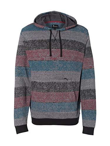 Burnside Printed Striped Fleece Sweatshirt.B8603 - X-Large - Red / Black