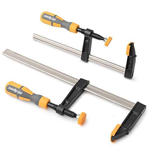 Hi-Spec Set di 2 Strettoi per Falegname a vite in acciaio. Dimensioni 8 e 12in/ 200 e 300 mm. Telaio in acciaio con ganasce per lavori su legno e metallo, per artigianato e fai da te
