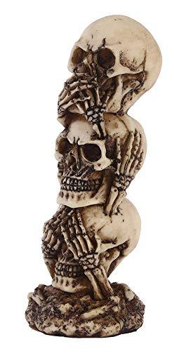 YB&GQ No Ver El Mal,Speak No Evil Cráneo Estatuas,Esqueleto Cabeza Apilados Cráneo Figurines,Víspera De Todos Los Santos Miedo Decoración Mesa Escultura,Hear No Evil