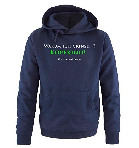 Comedy Shirts - KOPFKINO - Oscar - Herren Hoodie - Navy/Weiss-Neongrün Gr. L