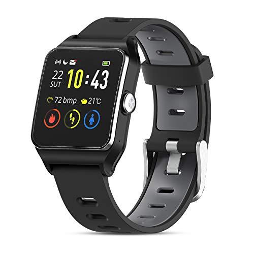 HolyHigh Smartwatch Hombre Mujer,【Último Modelo】 Reloj Inteligente Deportivo con GPS Monitor, Pulsera de Actividad, Reloj Impermeable IP68, Pantalla Táctil y Ritmo Cardíaco Podómetro para iOS Android