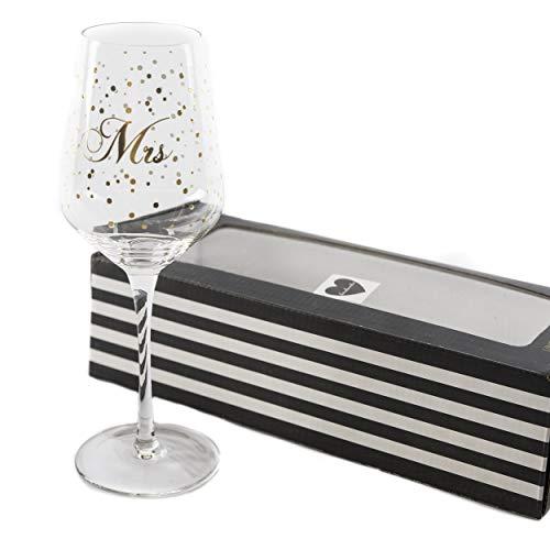 Weinglas Glas Hochzeit Mrs. | knuellermarkt24.de | Miss Hochzeitsdeko Gläser Gold handgemacht Wein