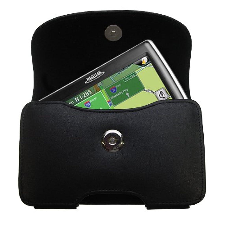 不条理検閲ダースGomadic ブランド 水平 ブラック レザー キャリングケース Magellan Roadmate 1475T用 統合ベルトループとオプションのベルトクリップ付き