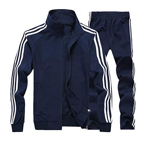 Ropa deportiva de hombre delgada traje deportivo conjunto chaqueta pantalones tamaño