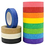 12 Rolls Colored Masking Tape 16 Yard Per Roll, Rainbow Colors Painters Tape, Colored Painters Tape, Craft Tape, Labeling Tape, Paper Tape for Bullet Journals, Party Decorations, DIY Craft